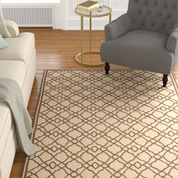 Childers Hand-Hooked Ivory / Dark Brown Area Rug by Charlton Home