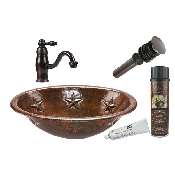 Star Metal Oval Drop-In Bathroom Sink with Faucet by Premier Copper Products