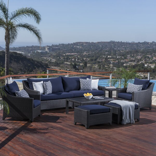 Northridge 8 Piece Rattan Sofa Seating Group with Sunbrella Cushions by Three Posts
