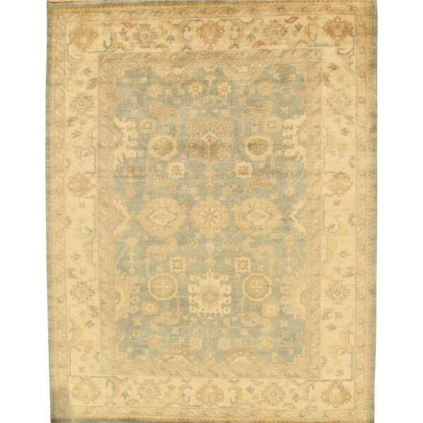 Oushak Hand-Knotted Light Blue/Ivory Area Rug by Pasargad