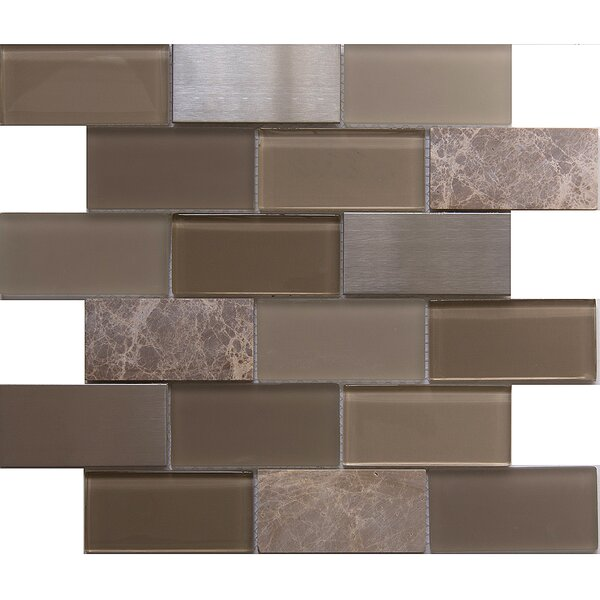 Tetris Zamora 2 x 4 Glass/Stone Mosaic Tile in Gray/Green by Matrix Stone USA