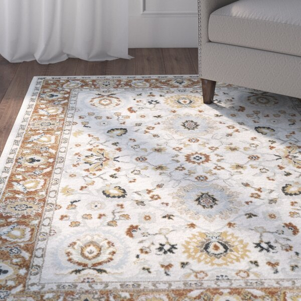 Lenora Floral and Plants Burnt Orange Area Rug by Charlton Home