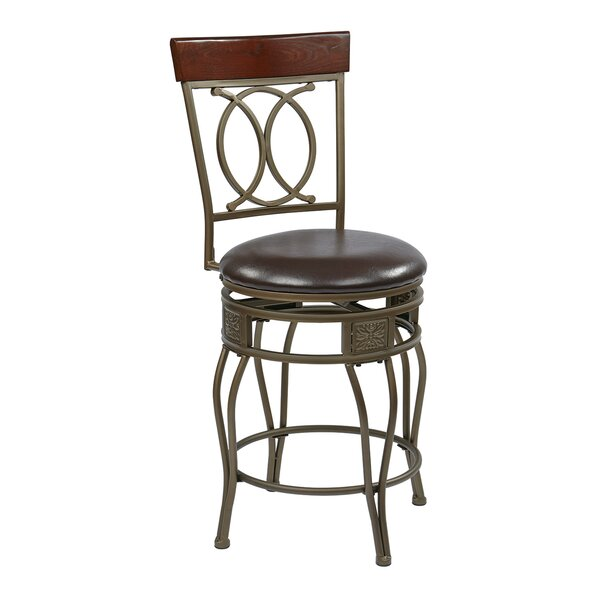 Hanaford 24 Swivel Bar Stool by Alcott Hill
