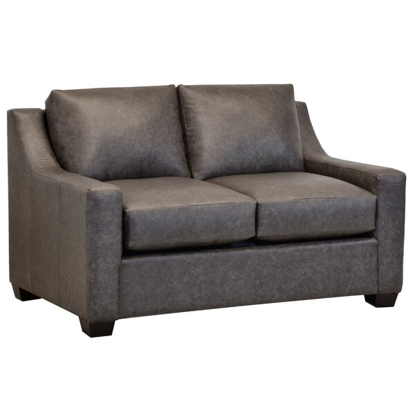 Made In Usa Highwoods Distressed Grey Top Grain Leather Loveseat By Ebern Designs