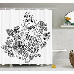 Deals Paisley Mermaid Figure in Ocean Shower Curtain ByEast Urban Home