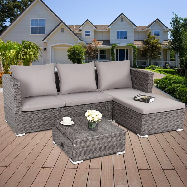 Briar 3 Piece Rattan Sectional Seating Group Set with Cushions by Latitude Run