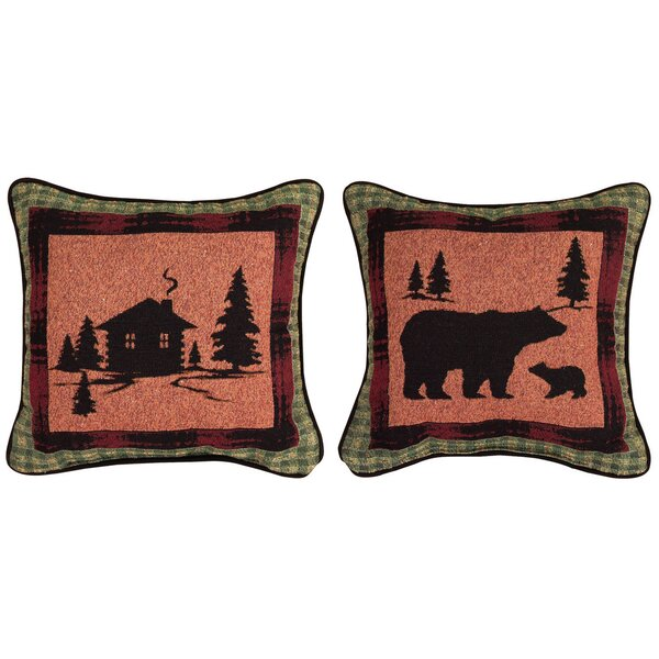 Bear Lodge Cabin/Bear Throw Pillow by Manual Woodworkers & Weavers