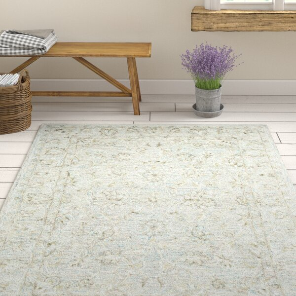 Jambi Traditional Hand-Tufted Wool Cream Area Rug by Ophelia & Co.