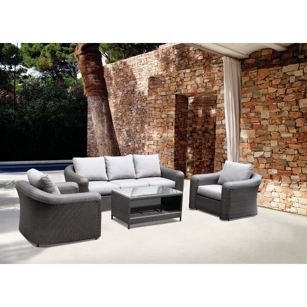 Gantz 4 Piece Rattan Sofa Set with Cushions by Brayden Studio