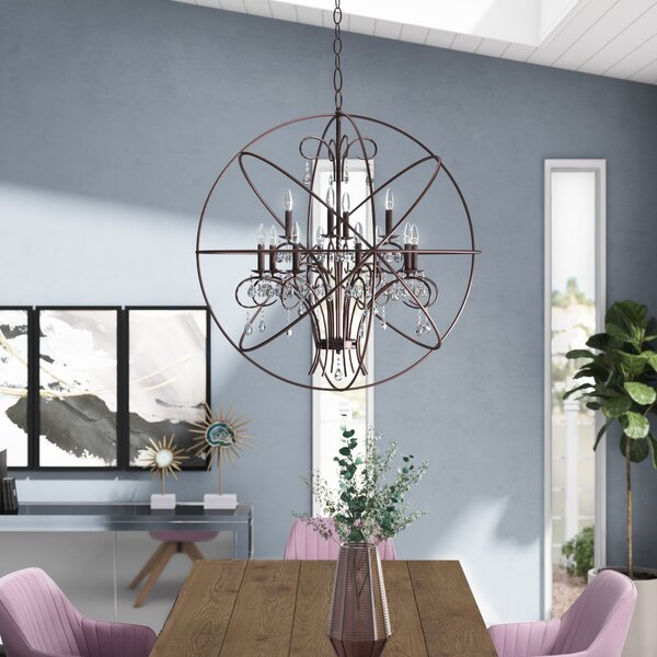 Alden 12 - Light Candle Style Globe Chandelier by Willa Arlo Interiors Willa Arlo Interiors
