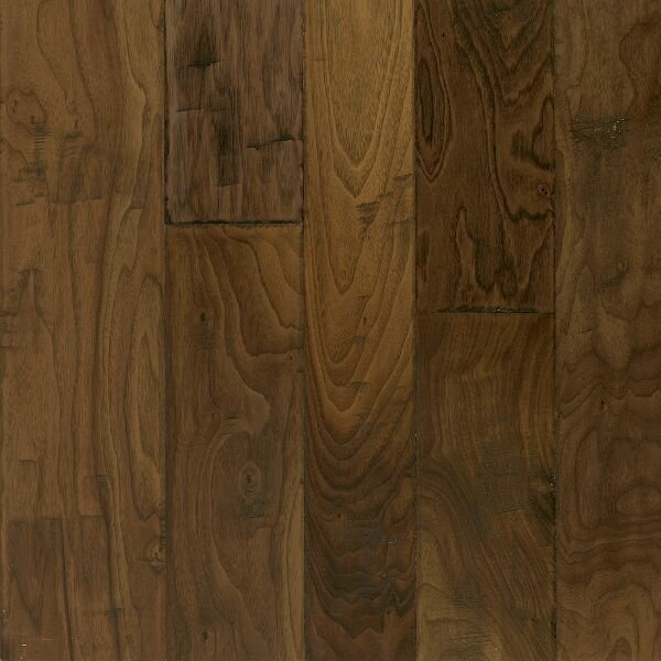 Artesian Hand-Tool Random Width Engineered Walnut Hardwood Flooring in Whisper Brown by Armstrong Flooring