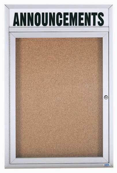Illuminated Enclosed Wall Mounted Bulletin Board by AARCO