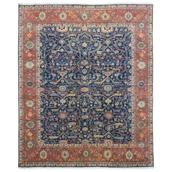 One-of-a-Kind Allegany Oriental Hand-Knotted Wool Navy/Red Area Rug by Bloomsbury Market