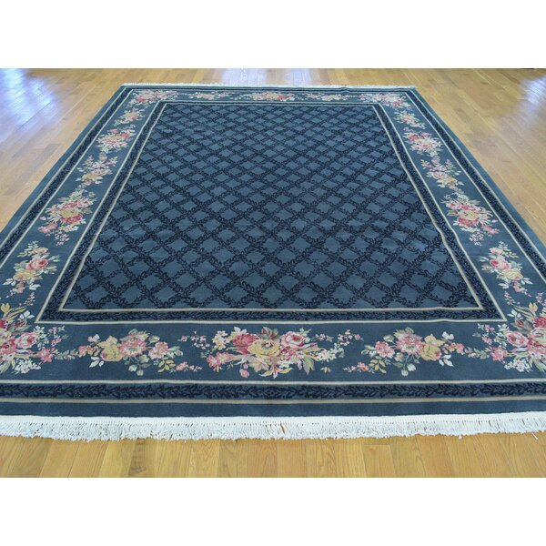 One-of-a-Kind Bo Neo Classic Design Hand-Knotted Blue Wool Area Rug by Isabelline