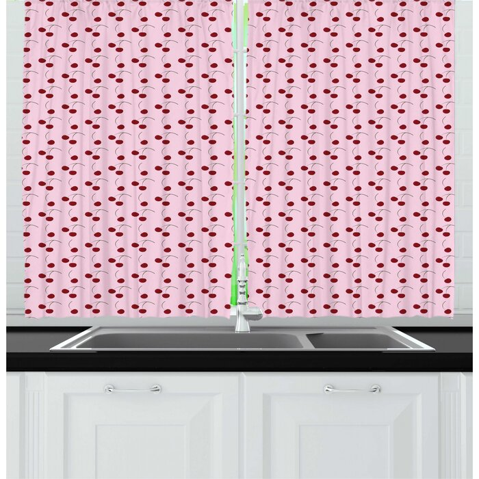 Cherry Rhythmic Cartoon Cherries Motifs on Pastel Tone Backdrop Illustration Kitchen Curtain (Set of 2)