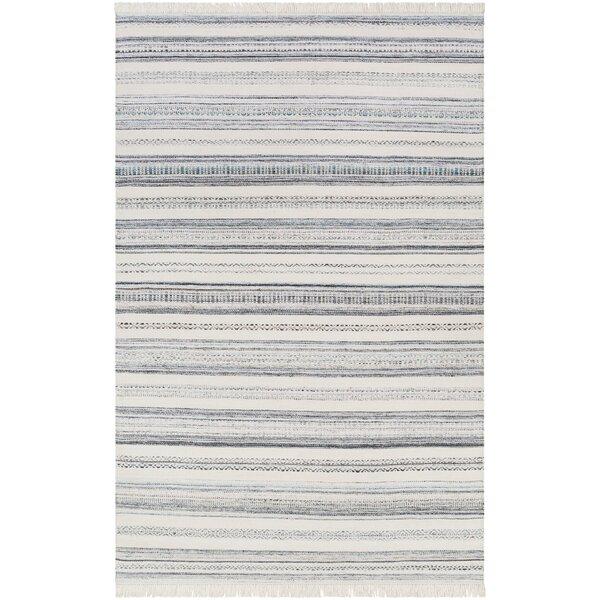Jazmyn Striped Handmade Flatweave Beige/Blue Indoor / Outdoor Area Rug