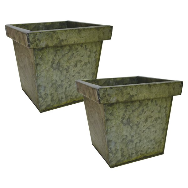 Britton Square Tin Planter Box (Set of 2) by Williston Forge