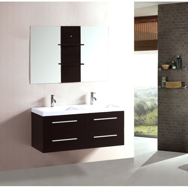 48 Double Floating Bathroom Vanity Set with Mirror by Kokols