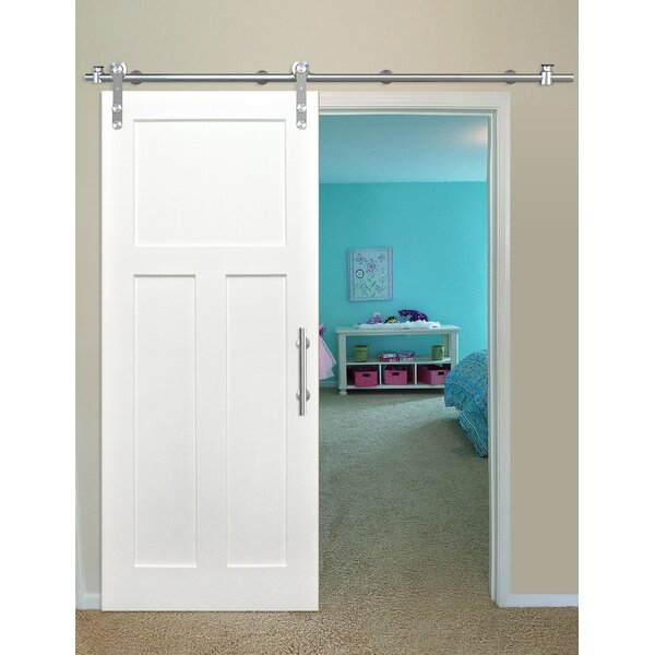 Shaker 3 Panel Primed Solid Wood Panelled Pine Interior Barn Door by Creative Entryways