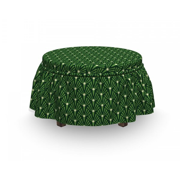 Foliage With Dots Ottoman Slipcover (Set Of 2) By East Urban Home