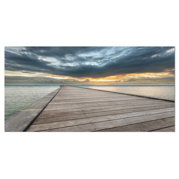 Beach Sunset in Koh Samui Thailand Sea Bridge Photographic Print on Wrapped Canvas by Design Art