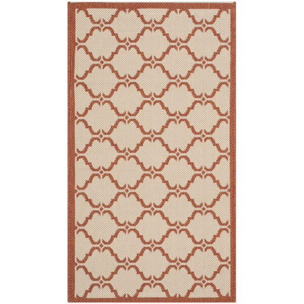 Short Beige/Terracotta Indoor/Outdoor Rug by Winston Porter