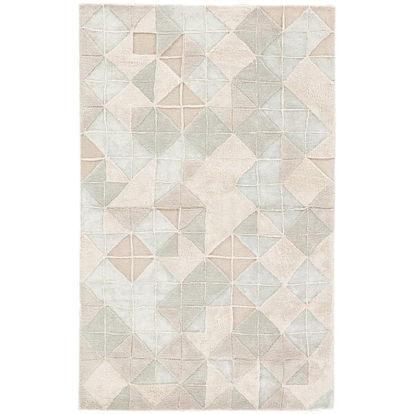 Fairhills Geometric Hand-Tufted Tapioca/Sky Gray Area Rug by Ivy Bronx