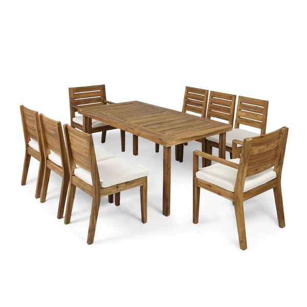 Denholme 9 Piece Dining Set with Cushions by Three Posts