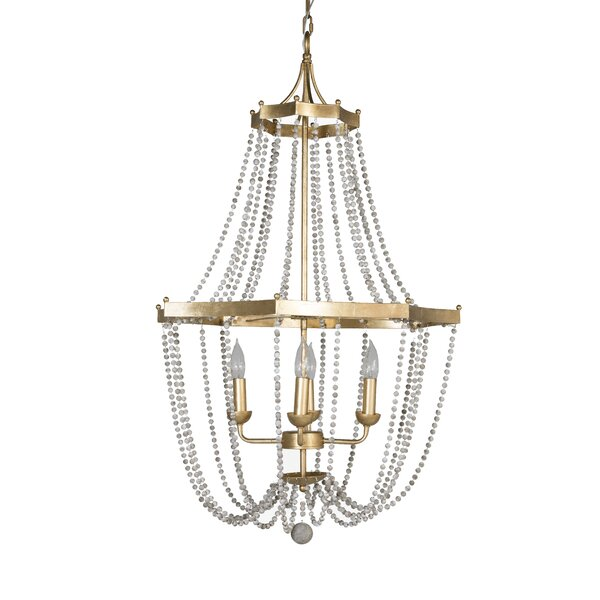 4 - Light Candle Style Empire Chandelier With Beaded Accents By Gabby