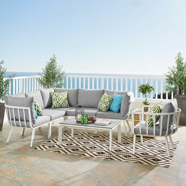 Montclaire Outdoor Patio 3 Piece Sectional Seating Group with Cushions Brayden Studio W002710712