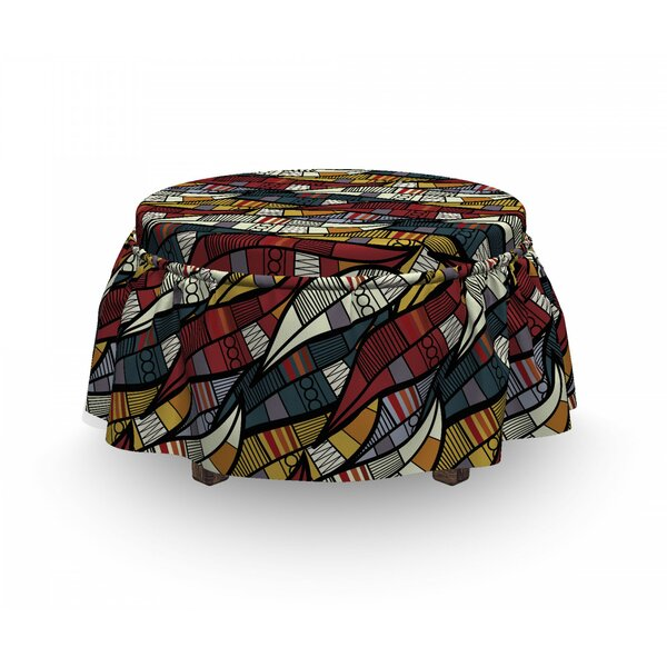 African Circles Chevrons Lines 2 Piece Box Cushion Ottoman Slipcover Set By East Urban Home