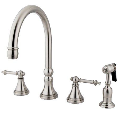 Deck Mount Double Handle Widespread Kitchen Faucet with Metal Lever Handle and Brass Sprayer by Elements of Design