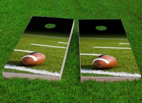 Football Field with Ball Cornhole Game (Set of 2) by Custom Cornhole Boards