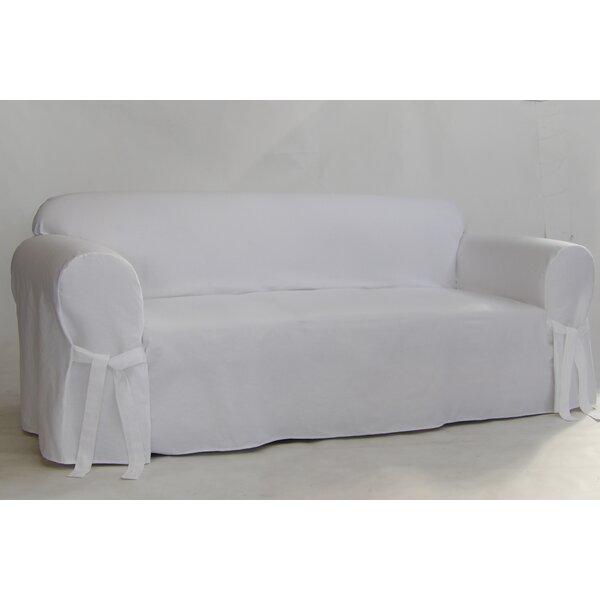 Twill One Piece Box Cushion Sofa Slipcover by Alcott Hill