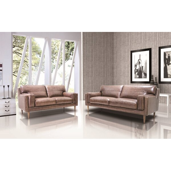 Stokes Leather 2 Piece Living Room Set by Union Rustic