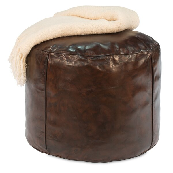 Pryce Soccer Ball Leather Pouf By Alcott Hill