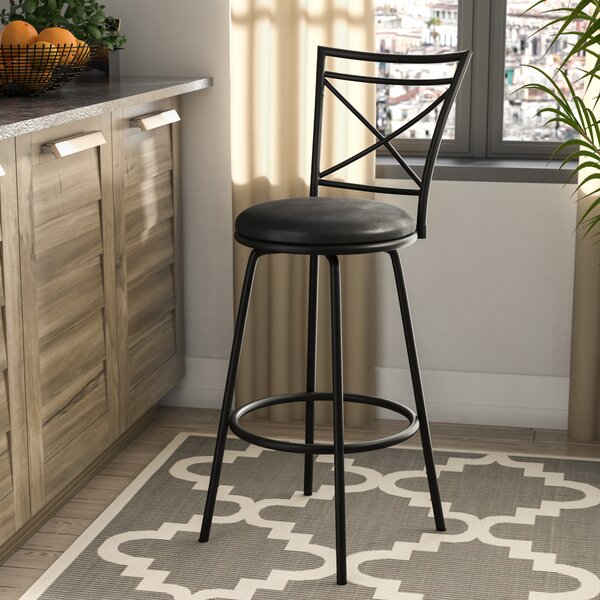 Adrienne Adjustable Height Swivel Bar Stool by Winston Porter