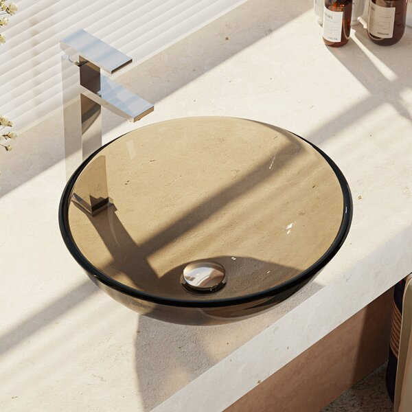 , Cashmere Glass Circular Vessel Bathroom Sink with Faucet