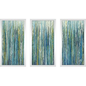 'Greencicles' Framed Painting Print Multi-Piece Image on Glass by Ivy Bronx
