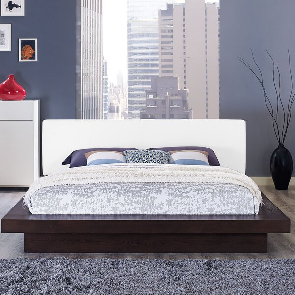 Rennan Vinyl Queen Upholstered Platform Bed by World Menagerie