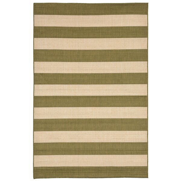 Kensa Green/Beige Indoor/Outdoor Area Rug by Breakwater Bay