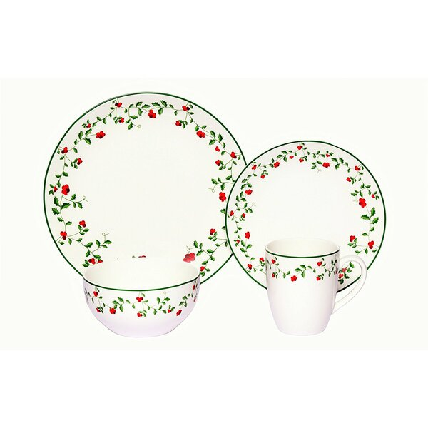 Alonzo Winterberry Porcelain Coupe 16 Piece Dinnerware Set, Service for 4 by August Grove