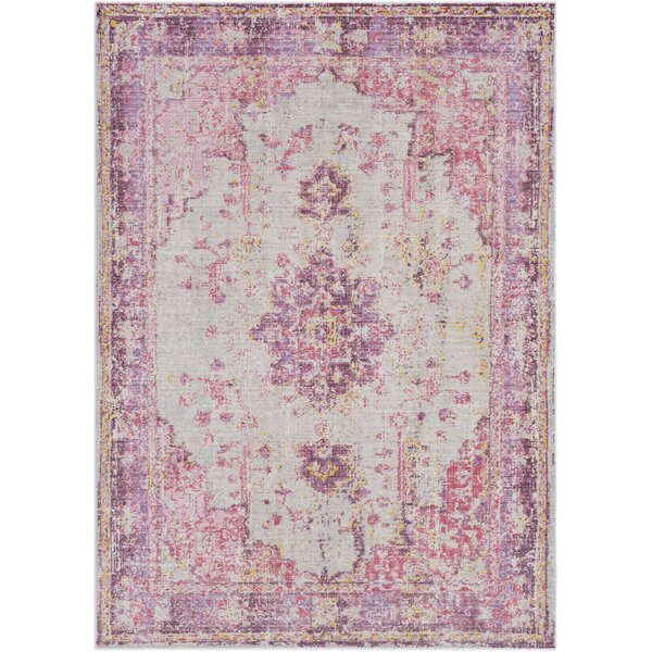 Kahina Vintage Distressed Oriental Bright Pink Area Rug by Bungalow Rose