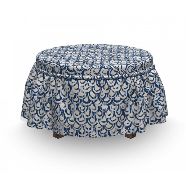 Scales Stripes Grunge Ottoman Slipcover (Set Of 2) By East Urban Home