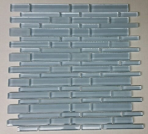 12 x 12 Glass Random Strip Mosaic Clear & Frosted MAG-056-ST by Seven Seas