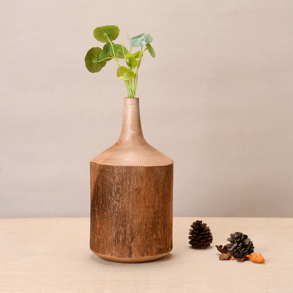 Suanne Hand Carved Natural Mango Wood Table Vase by World Menagerie