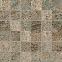 Dolomiti 2 x 2 Porcelain Mosaic Tile in Gold by Madrid Ceramics