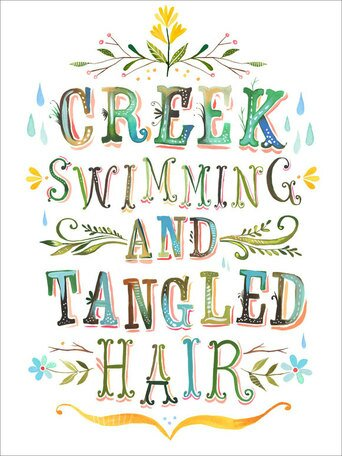 Creek Swimming and Tangled Hair Canvas Art by Oopsy Daisy
