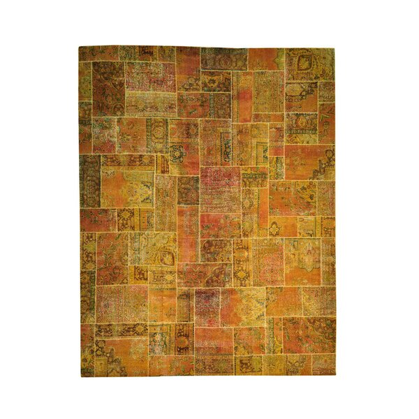 One-of-a-Kind Plumley Overdyed Patchwork Oriental Hand-Knotted Orange/Gold Area Rug by World Menagerie