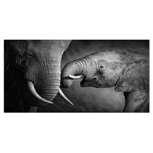 'Elephants Showing Affection' Graphic Art on Wrapped Canvas by Design Art